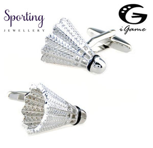 Igame Factory Price Retail Badminton Cuff Links Brass Material Silver Colour Shuttlecock Design Free