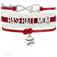 Load image into Gallery viewer, Infinity Love Baseball Mom Bracelets Coaches Heart Glove Charm Lover Womens Fashion B5204