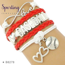 Load image into Gallery viewer, Infinity Love Baseball Mom Bracelets Coaches Heart Glove Charm Lover Womens Fashion B6278