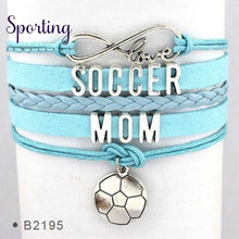 Load image into Gallery viewer, Infinity Love Soccer Mom Bracelets Coaches Faith Football Charm Leather Mens B2195