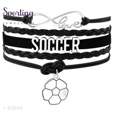 Load image into Gallery viewer, Infinity Love Soccer Mom Bracelets Coaches Faith Football Charm Leather Mens B3648