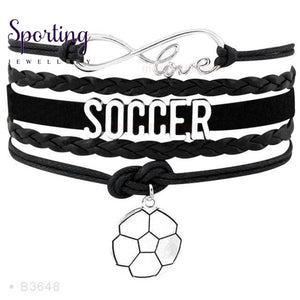 Infinity Love Soccer Mom Bracelets Coaches Faith Football Charm Leather Mens B3648