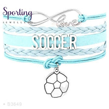 Load image into Gallery viewer, Infinity Love Soccer Mom Bracelets Coaches Faith Football Charm Leather Mens B3649