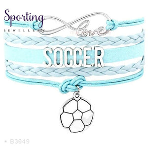 Infinity Love Soccer Mom Bracelets Coaches Faith Football Charm Leather Mens B3649