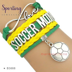 Infinity Love Soccer Mom Bracelets Coaches Faith Football Charm Leather Mens B3688
