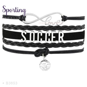 Infinity Love Soccer Mom Bracelets Coaches Faith Football Charm Leather Mens B3853