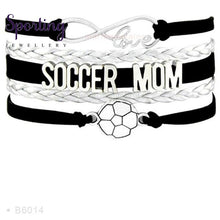 Load image into Gallery viewer, Infinity Love Soccer Mom Bracelets Coaches Faith Football Charm Leather Mens B6014