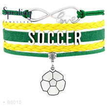 Load image into Gallery viewer, Infinity Love Soccer Mom Bracelets Coaches Faith Football Charm Leather Mens B6015