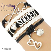 Load image into Gallery viewer, Infinity Love Soccer Mom Bracelets Coaches Faith Football Charm Leather Mens B6285
