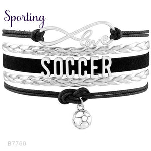 Infinity Love Soccer Mom Bracelets Coaches Faith Football Charm Leather Mens B7760