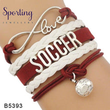 Load image into Gallery viewer, Infinity Love Soccer Mom Bracelets Coaches Faith Football Charm Leather Mens