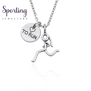Inspiring Runner Pendants Necklaces Vintage Alloy Silver