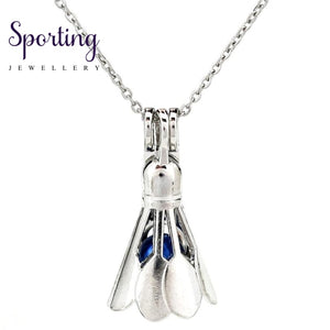 K880 Silver Alloy Badminton Sports Pearl Cage Pendant Chain Aroma Essential Oil Diffuser Locket