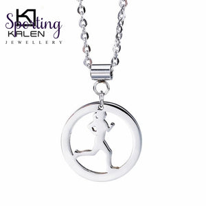 Kalen Fashion Running Girl Sporty Pendant Necklace For Women Cheap Stainless Steel Fitness Jewelry
