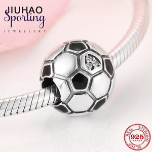 Love Sports Authentic 925 Sterling Silver Football Fine Ball Charms Beads Fits Pandora Women