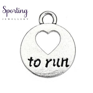 Love To Run Marathon Running Girl Zinc Alloy Heart