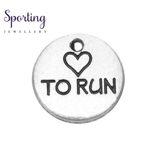 Love To Run Marathon Running Girl Zinc Alloy Love Round