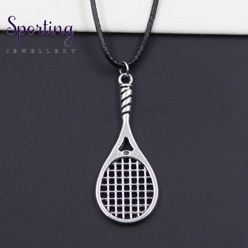 New Durable Black Faux Leather Badminton Tennis Racket Pendant Cord Choker Diy Necklace Retro Boho