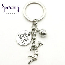 Load image into Gallery viewer, New Fashion Accessories Volleyball Keychain Mini Athlete Cheerleading Never Give Up Fitness Coach