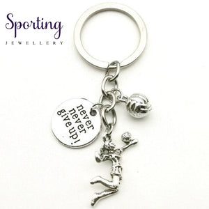 New Fashion Accessories Volleyball Keychain Mini Athlete Cheerleading Never Give Up Fitness Coach