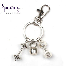 Load image into Gallery viewer, New Hot Fashion Accessories Keychain Mini Dumbbell Discus Barbell Fitness Charm Designer Gift Coach