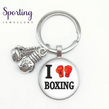 Load image into Gallery viewer, New I Love Boxing English Word Pattern Keychain Glove Alloy High Quality Pendant Memorial Boxer Gift