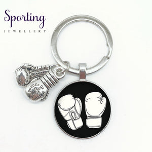 New I Love Boxing English Word Pattern Keychain Glove Alloy High Quality Pendant Memorial Boxer Gift