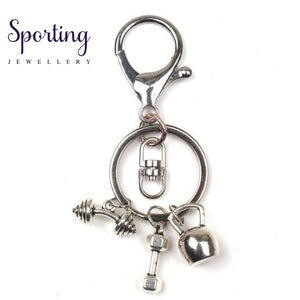 New Keychain Charm Fitness Key Chain Mini Dumbbell Discus Barbell Keyring Fashion Designer Gift
