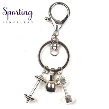 Load image into Gallery viewer, New Keychain Charm Fitness Key Chain Mini Dumbbell Discus Barbell Keyring Fashion Designer Gift