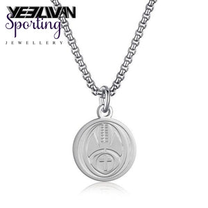 New Sports Cross Pendant Necklaces Titanium Steel Engrave American Football Baseball Basketball Ice