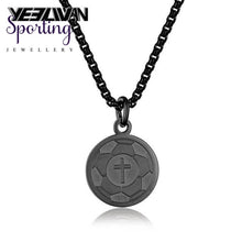 Load image into Gallery viewer, New Sports Cross Pendant Necklaces Titanium Steel Engrave American Football Baseball Basketball Ice
