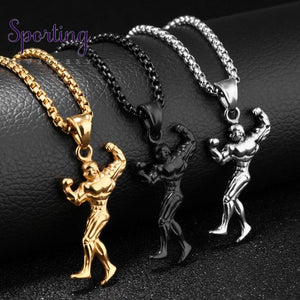 New Strong 316L Stainless Steel Silver Gold Black Fitness Coach Mens Womens Pendant Necklace Box