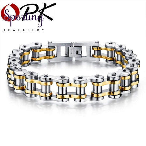 Opk Biker 316L Stainless Steel Mens Bracelet Fashion Sports Jewelry Bike Bicycle Chain Link Casual