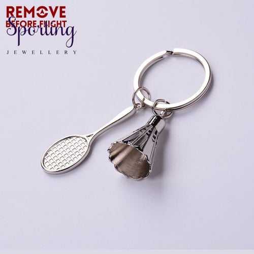 Remove Before Flight Badminton Racket Keyrings For Sports Lover Keychain Accessories Gifts White Key