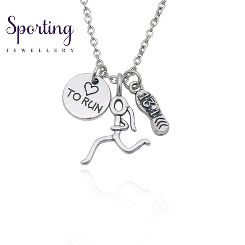 Running Girl Figure Pendant Necklace Runner Marathon 13.1 Love To Run Charms Necklaces For Women