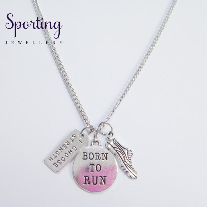 Running Motivation Necklace Born To Run Gym Fitness Runner Gifts 5Pcs/lot