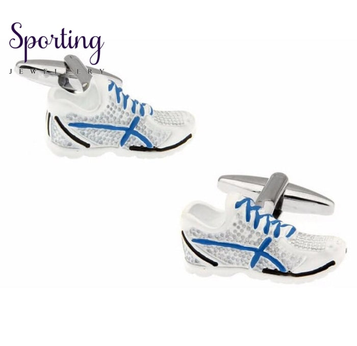 Running Shoes Cuff Links For Men Sport Design Quality Brass Material White Color Cufflinks