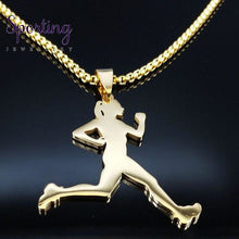 Load image into Gallery viewer, Running Stainless Steel Necklace Gd 60 Box