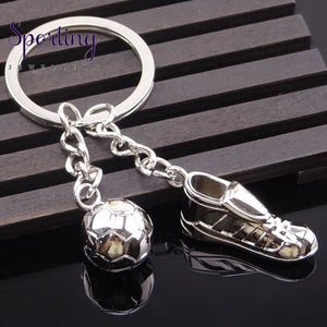 Soccer Shoes Football Ball Stainless Steel Metal Keychain Key Chains Ring
