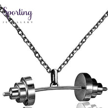 Load image into Gallery viewer, Sport Dumbbell Pendant Necklaces Gold Color Chain Women Jewelry Necklace 2017 Fashion Gifts Fitness