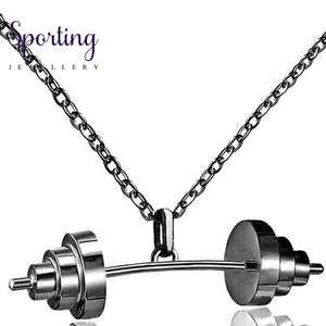 Sport Dumbbell Pendant Necklaces Gold Color Chain Women Jewelry Necklace 2017 Fashion Gifts Fitness