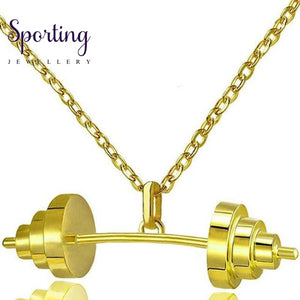 Sport Dumbbell Pendant Necklaces Gold Color Chain Women Jewelry Necklace 2017 Summer Barbell