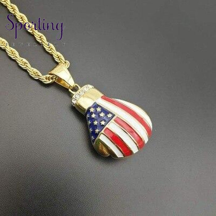Sport Fitness Jewelry Stainless Steel Boxing Patriotic Flags Gloves Pendant Necklace Chic Men Hiphop