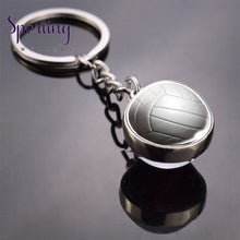 Load image into Gallery viewer, Sports Ball Key Chain Football Baseball Basketball Volleyball Double Side Keychain Glass Trinket