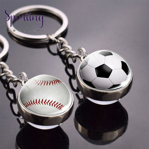 Sports Ball Key Chain Football Baseball Basketball Volleyball Double Side Keychain Glass Trinket