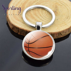 Sports Ball Series Double Sided Key Chain Glass Cabochon Volleyball Basketball Football Tennis