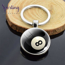 Load image into Gallery viewer, Sports Ball Series Double Sided Key Chain Glass Cabochon Volleyball Basketball Football Tennis