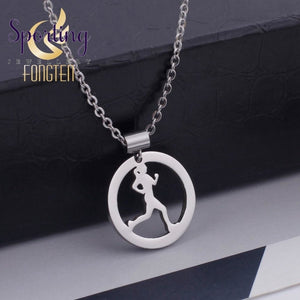 Sporty Running Girl Pendant Necklace For Women Lady Girls Sports Jogging Fitness Pendants