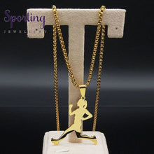 Load image into Gallery viewer, Stainless Steel Running Necklace Gd 60Cm Box
