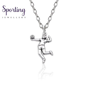 Trendy Sport Necklaces Pendants Swim Bike Run Gym Yoga Dance Girl Necklace Muscular Men Racket